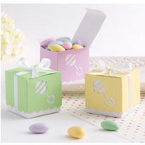 Pastel Rattle Baby Shower Favor Box Kit 25ct
