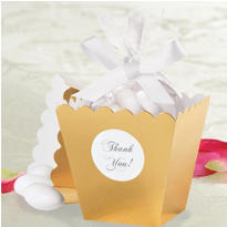 Gold Popcorn Box Wedding Favor Kit 50ct