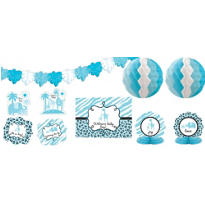 Blue Safari Baby Shower Room Decorating Kit 10pc