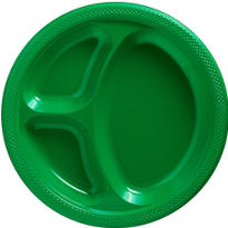 Festive Green Plastic Divided Dinner Plates 20ct