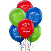 Latex Cars 1st Birthday Balloons 15ct