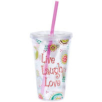 Live Laugh Love Double Wall Tumbler with Straw