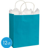 Caribbean Blue Medium Kraft Gift Bags 12ct