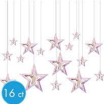 3D Iridescent Star Hanging Decorations 16ct