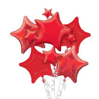 Foil Red Stars Balloon Bouquet 5pc