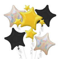 Foil Iridescent, Black & Gold Stars Balloon Bouquet 5pc