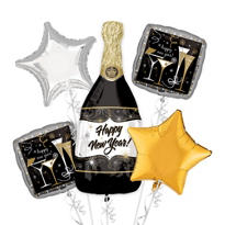 Foil Happy New Year Champagne Balloon Bouquet 5pc