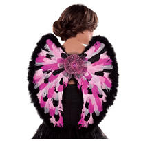 Chic Pink Feather Angel Wings