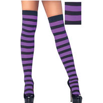 Adult Black and Purple Wide Stripe Thigh High Stockings