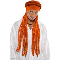 Orange Dreadlock Wig with Hat