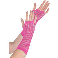 Long Pink Fishnet Gloves Deluxe