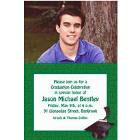 Green Congrats Grad Custom Photo Invitation