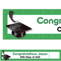 Custom Green Congrats Grad Photo Banner 6ft