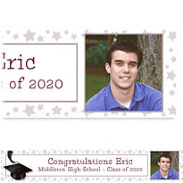 White Congrats Grad Custom Photo Banner 6ft