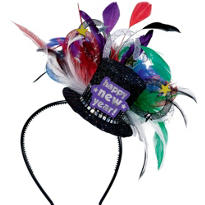Jewel Tones Feather Hat Headband