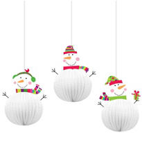 3D Joyful Snowman Hanging Decorations 3ct
