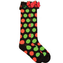 Christmas Polka Dot Knee High Socks