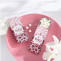 Pink Safari Mint Tin Baby Shower Favor
