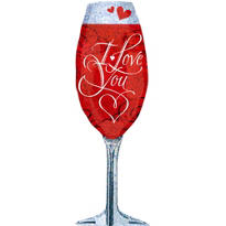 Holographic Love You Champagne Glass Valentines Day Balloon