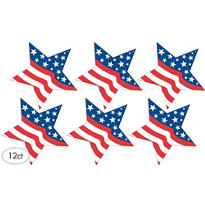 Patriotic Star Cutouts 8in 12ct