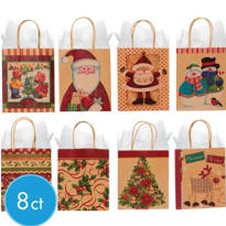 Small Seasons Greetings Kraft Gift Bags 5 1/2in 8ct