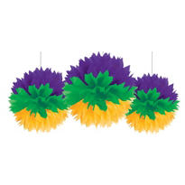 Mardi Gras Fluffy Decorations 3ct