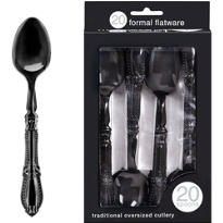 Formal Black Plastic Spoons 20ct