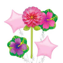 Foil Pink Flower with Stem Balloon Bouquet 5pc