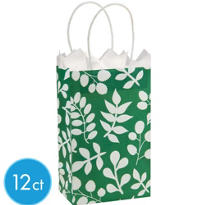 Green Leaf Mini Gift Bag 12ct