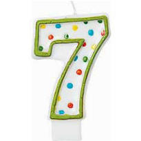 Number 7 Polka Dot Birthday Candle 3in