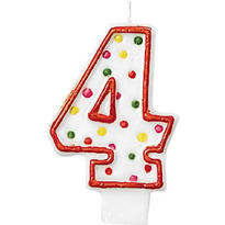 Number 4 Polka Dot Birthday Candle 3in