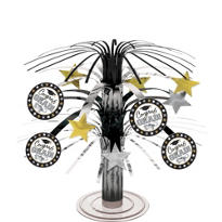 Black & White Cascade Graduation Centerpiece 8in