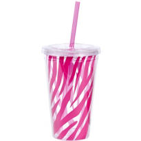 Pink Zebra Stripe Double Wall Tumbler with Straw