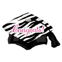 Foil Zebra Graduation Cap Balloon