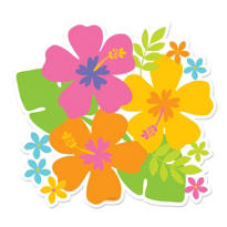 Multicolor Hibiscus Luau Cutout 11in