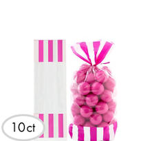 Bright Pink Striped Treat Bags 10ct