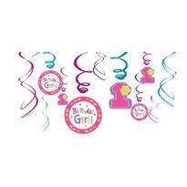 Pink Hugs & Stitches 1st Birthday Swirl Decorations 12ct
