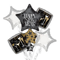 Star Stack New Years Balloon Bouquet 5pc