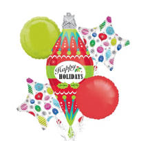 Happy Holidays Ornament Balloon Bouquet 5pc