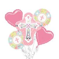 Pink Cross Balloon Bouquet 5pc