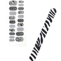 Zebra Sticker Nail Art with File