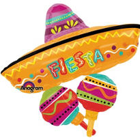 Foil Fiesta Sombrero Balloon 35in