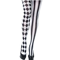 Adult Black and White Harlequin Pantyhose