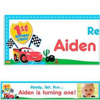 Cars 1st Birthday Custom Photo Banner