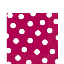 Raspbery Polka Dot Lunch Napkins 16ct