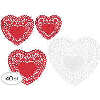 Valentines Day Heart Doilies 40ct