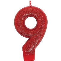 Number 9 Red Glitter Birthday Candle 3in