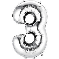 Number 3 Balloon - Silver