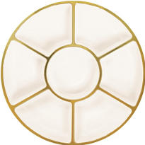Gold Trimmed Cream Plastic Sectional Platter 16in