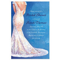 Bride in Gown Light Custom Bridal Shower Invitation